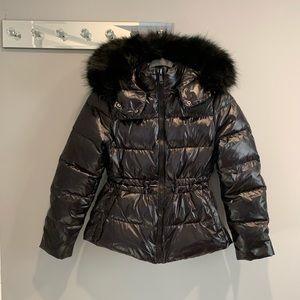 ZARA women High Gloss down puffer jacket in black
